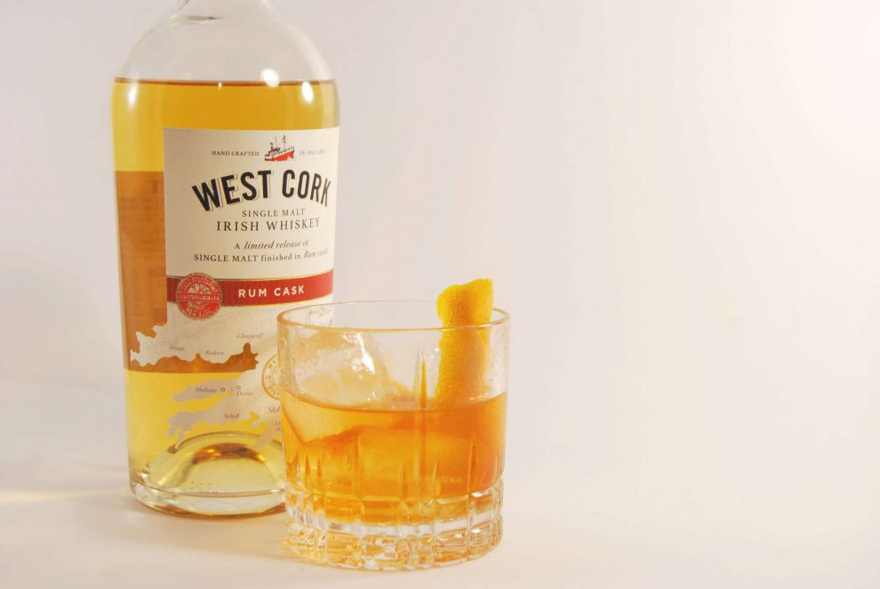 West Cork Single Malt Rum Cask Irish Whiskey im Old Fashioned.