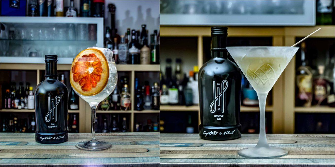 Hoos Pink Gin im Gin & Tonic und der Hoos Reserve Gin im Martini.