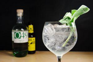 O49 Organic Gin im GIn Tonic - das Salbeiblatt als Garnitur-Empfehlung funktioniert hervorragend.