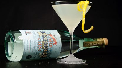 Príncipe de los Apóstoles Mate Gin in einem Cocktail namens Decepticon, der an einen Lemon Drop Martini erinnert.