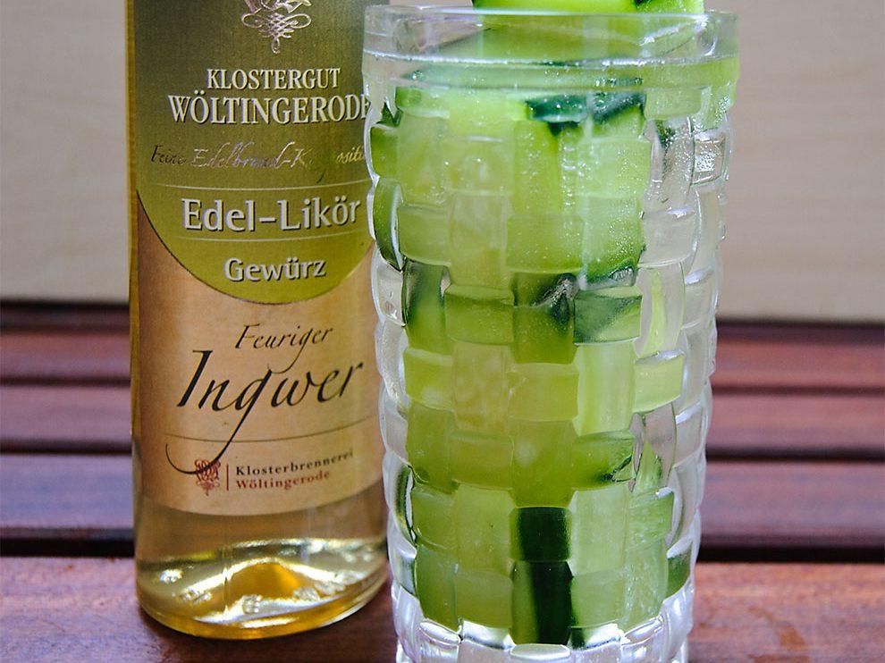 Hat nicht funktioniert: Feuriger Ingwer mit Gin und Gurken-Eiswürfeln.