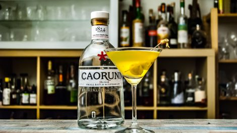 Der Caorunn Gin im Dirty Martini mit Olivenlake.