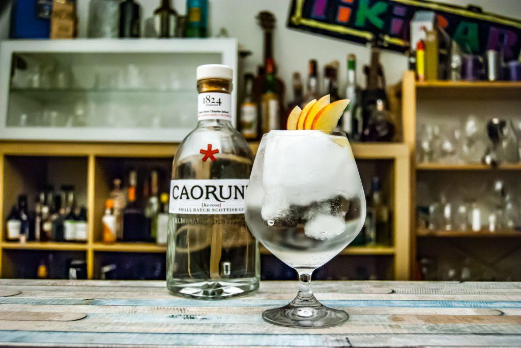 Der Caorunn Gin in einem Gin Tonic, garniert mit Apfelschnitzen.