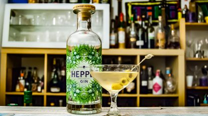 Hepple Gin in einem Dirty Martini Cocktail.