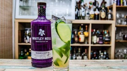 Der Whitley Neill Rhubarb & Ginger in einem London Leaves Cocktail.