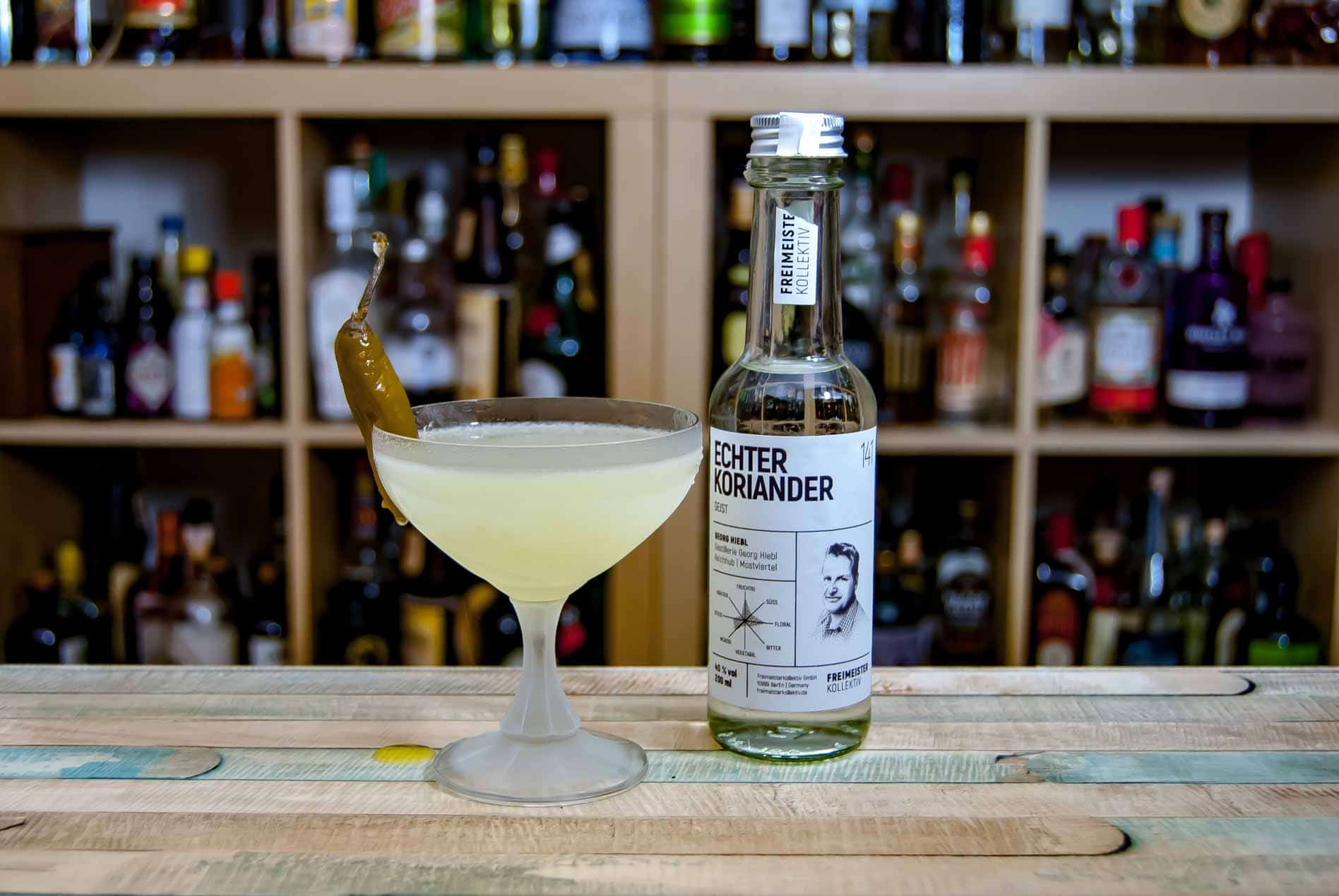 Eine Koriander-Margarita - erstaunlich umamiges Zeug, wenn noch etwas Chili mitspielt.