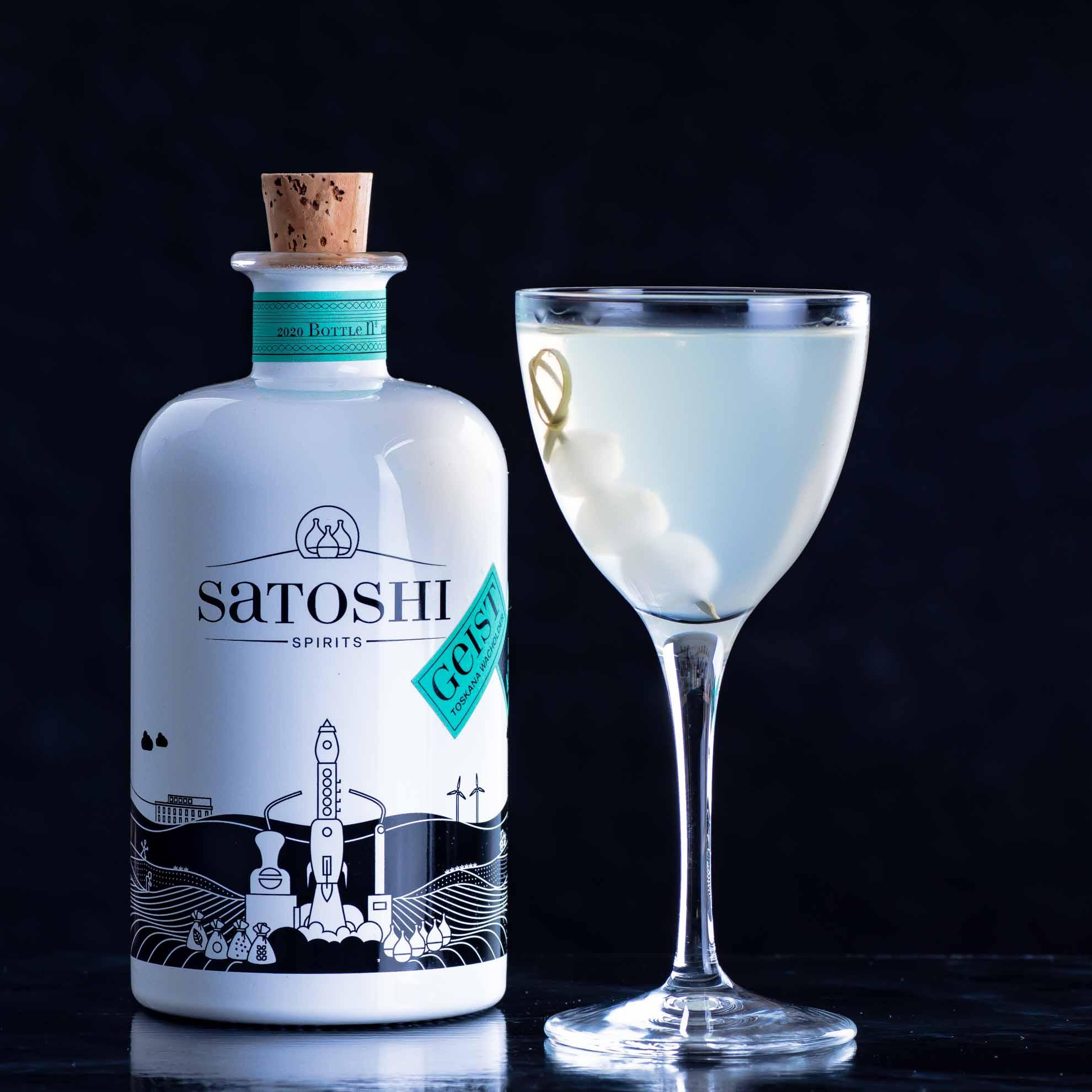 Kleiner Spoiler: Satoshi Spirits machen allesamt geile Martini-Variante. Das gilt vor allem für den Wacholdergeist, hier im Gibson Martini.